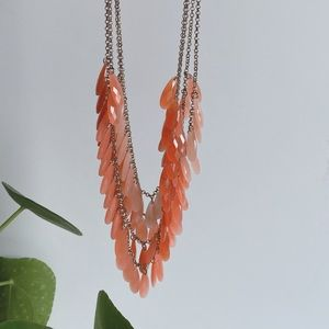 Layered necklace in coral